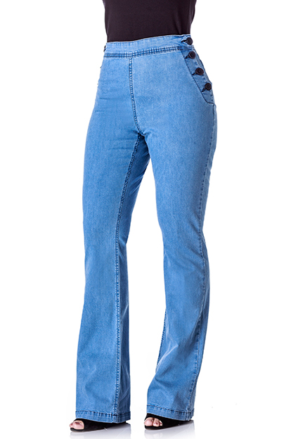 CALCA FLARE FEM SIDERAL JEANS C/ BOTOES